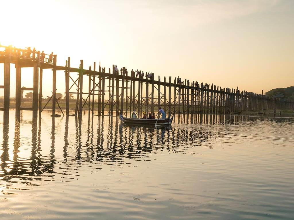 U-Bein Bridge in Mandalay during sunset
